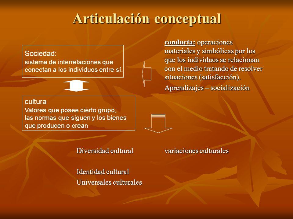 Articulación conceptual conducta: operaciones materiales y simbólicas por los que los individuos se relacionan con el medio tratando de resolver situa