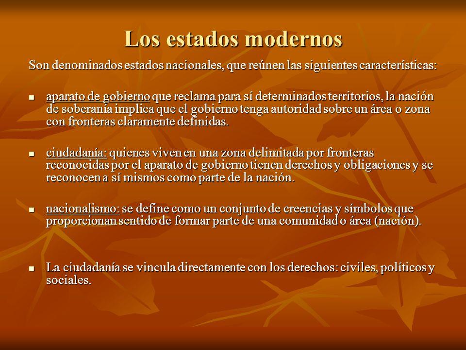 Los estados modernos Son denominados estados nacionales, que reúnen las siguientes características: aparato de gobierno que reclama para sí determinad