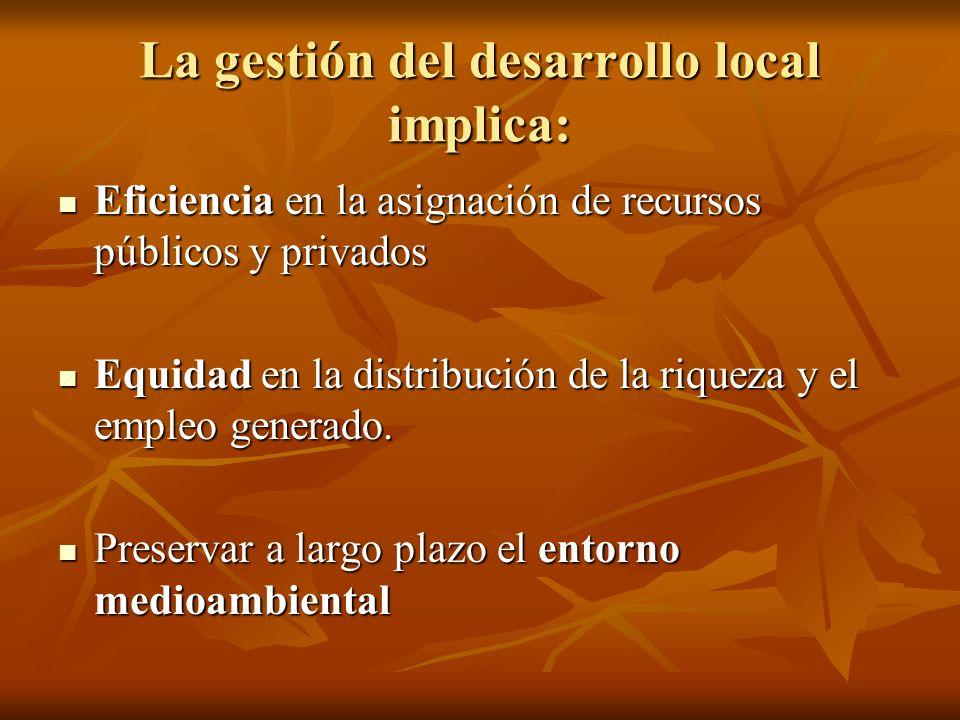 La gestión del desarrollo local implica: Eficiencia en la asignación de recursos públicos y privados Eficiencia en la asignación de recursos públicos