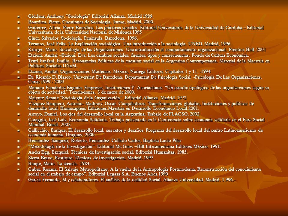 Giddens, Anthony. Sociología Editorial Alianza. Madrid 1989. Giddens, Anthony. Sociología Editorial Alianza. Madrid 1989. Bourdieu, Pierre. Cuestiones