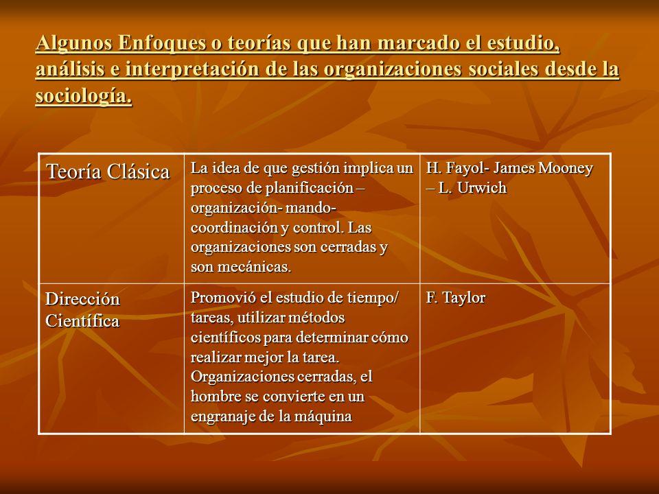 Algunos Enfoques o teorías que han marcado el estudio, análisis e interpretación de las organizaciones sociales desde la sociología. Teoría Clásica La