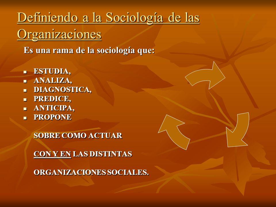Definiendo a la Sociología de las Organizaciones Es una rama de la sociología que: ESTUDIA, ESTUDIA, ANALIZA, ANALIZA, DIAGNOSTICA, DIAGNOSTICA, PREDI