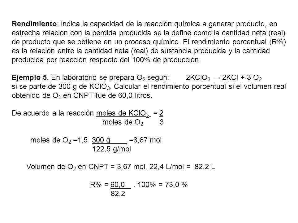 Rendimiento: indica la capacidad de la reacción química a generar producto, en estrecha relación con la perdida producida se la define como la cantida