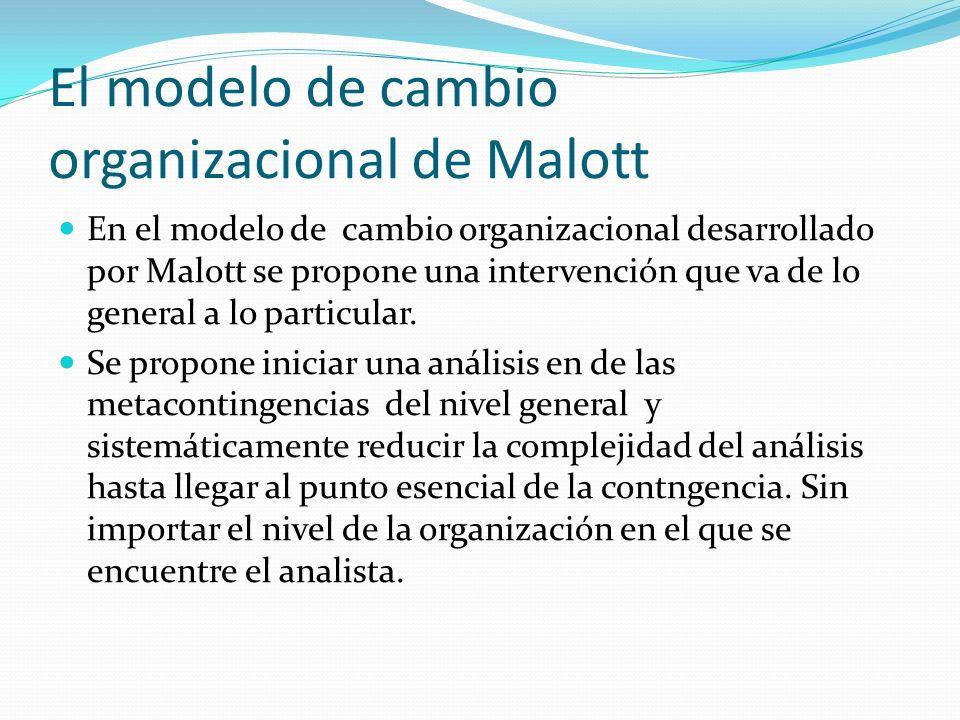 El modelo de cambio organizacional de Malott En el modelo de cambio organizacional desarrollado por Malott se propone una intervención que va de lo ge