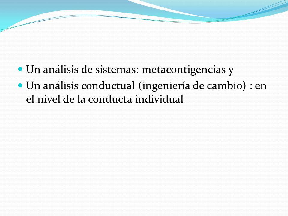 Un análisis de sistemas: metacontigencias y Un análisis conductual (ingeniería de cambio) : en el nivel de la conducta individual