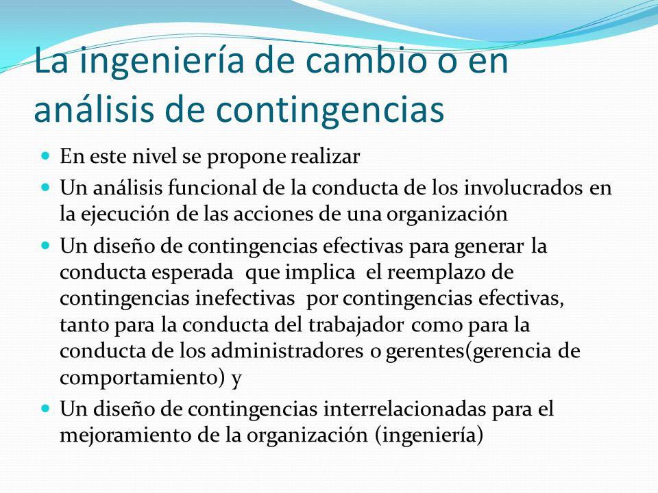 La ingeniería de cambio o en análisis de contingencias En este nivel se propone realizar Un análisis funcional de la conducta de los involucrados en l