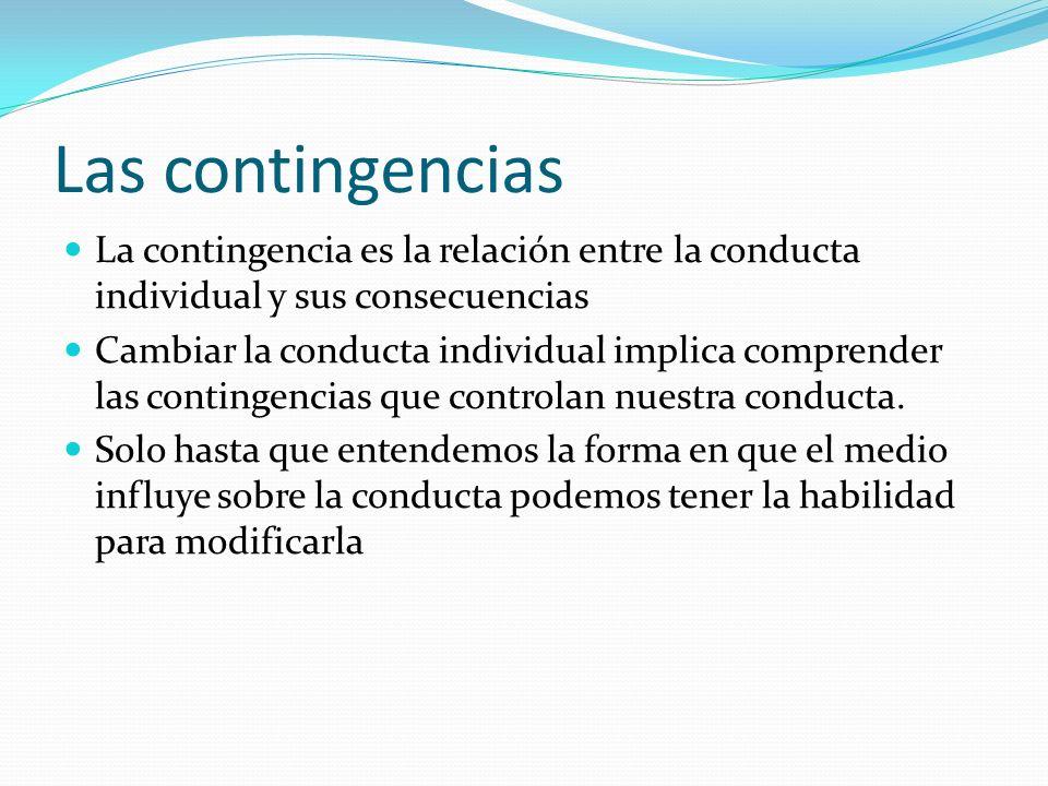 Las contingencias La contingencia es la relación entre la conducta individual y sus consecuencias Cambiar la conducta individual implica comprender la