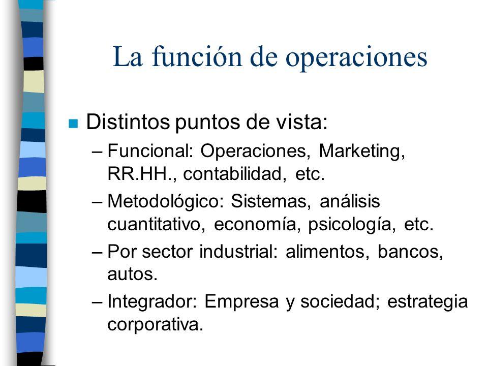 Operaciones enfocadas (III) n Una instalación por cada misión de operaciones.