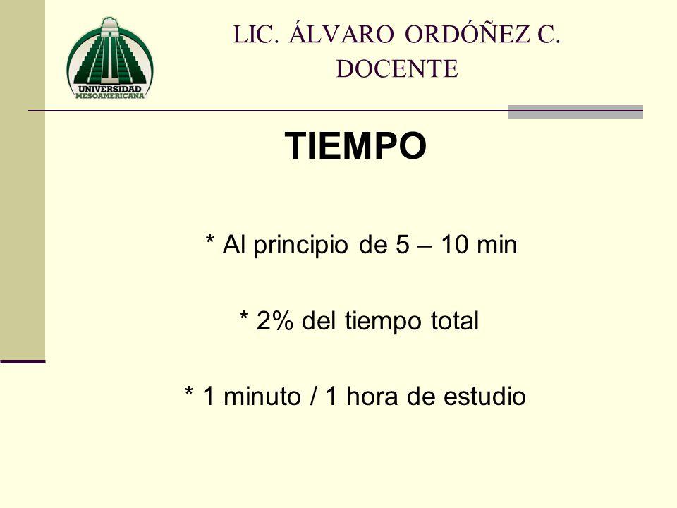 TIEMPO * Al principio de 5 – 10 min * 2% del tiempo total * 1 minuto / 1 hora de estudio LIC. ÁLVARO ORDÓÑEZ C. DOCENTE