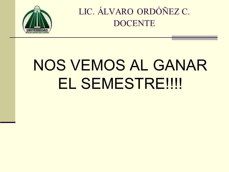 LIC. ÁLVARO ORDÓÑEZ C. DOCENTE NOS VEMOS AL GANAR EL SEMESTRE!!!!