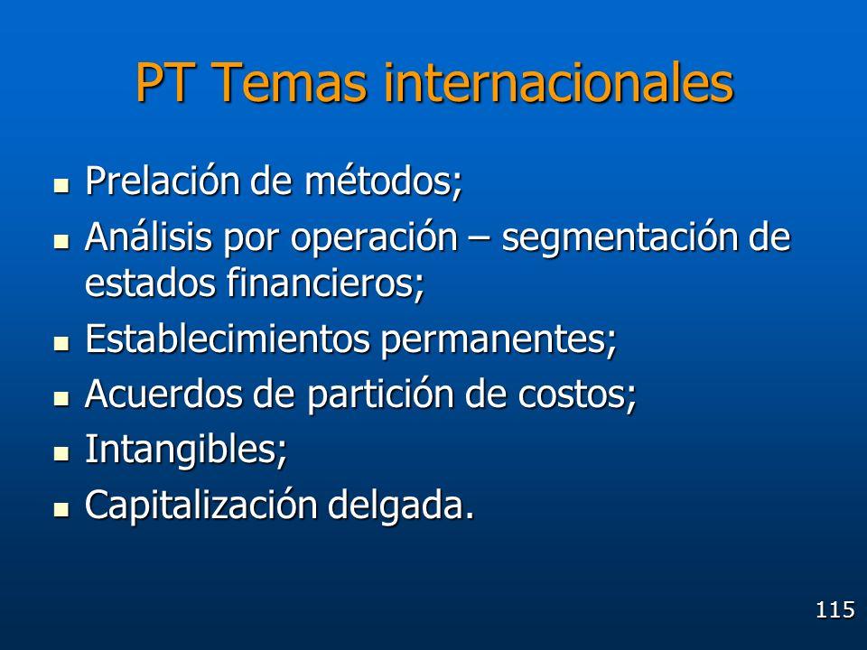115 PT Temas internacionales Prelación de métodos; Prelación de métodos; Análisis por operación – segmentación de estados financieros; Análisis por op