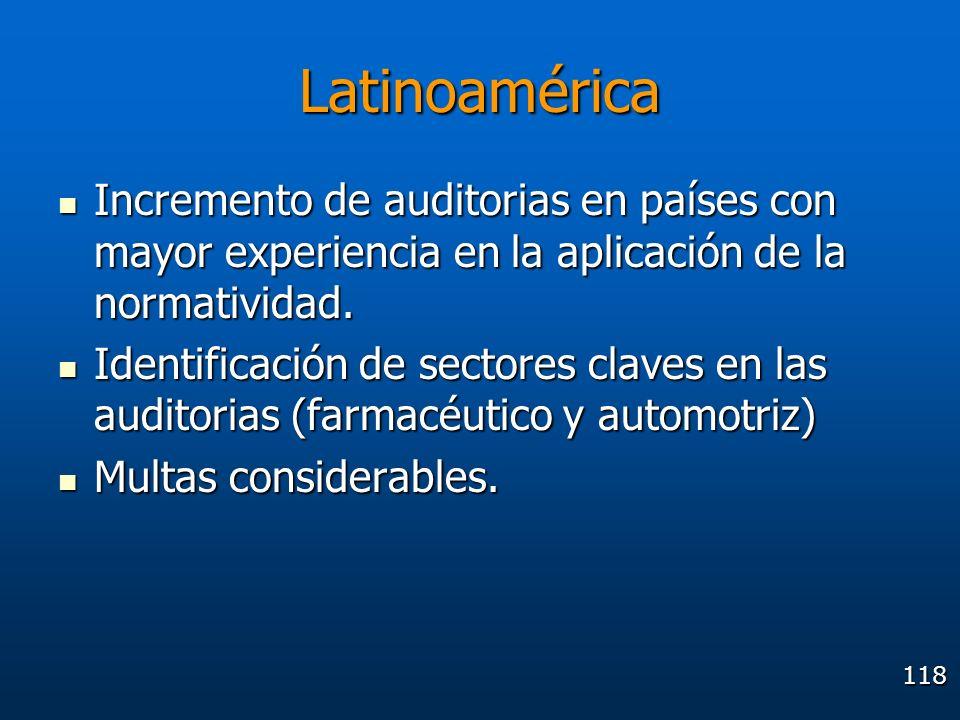 118 Latinoamérica Incremento de auditorias en países con mayor experiencia en la aplicación de la normatividad. Incremento de auditorias en países con