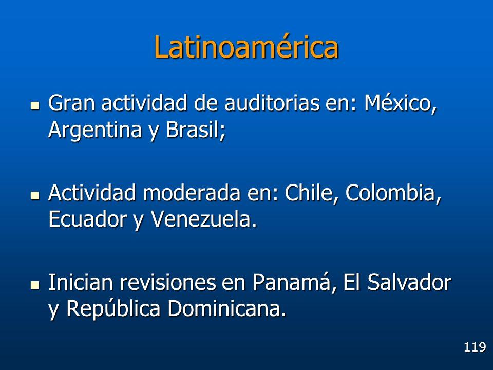 119 Latinoamérica Gran actividad de auditorias en: México, Argentina y Brasil; Gran actividad de auditorias en: México, Argentina y Brasil; Actividad