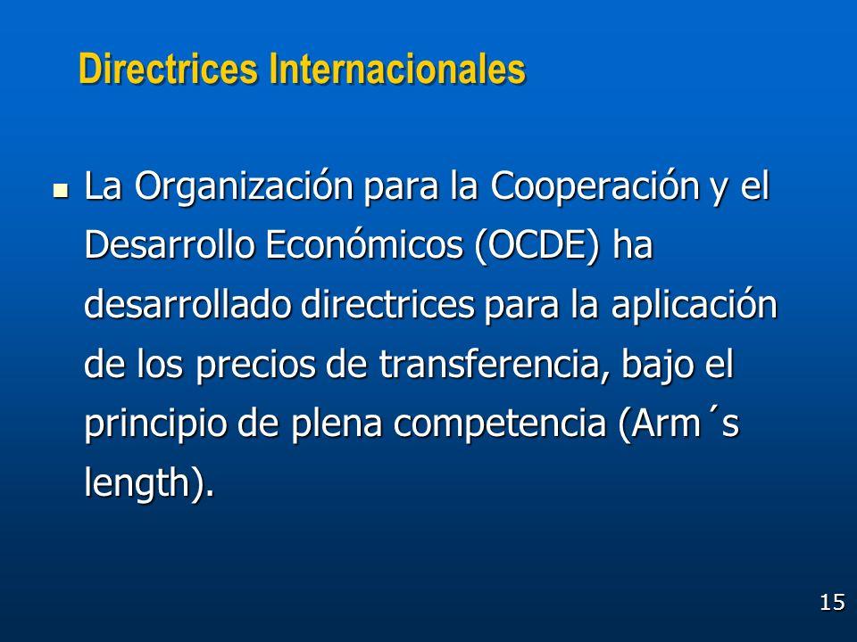 15 Directrices Internacionales La Organización para la Cooperación y el Desarrollo Económicos (OCDE) ha desarrollado directrices para la aplicación de