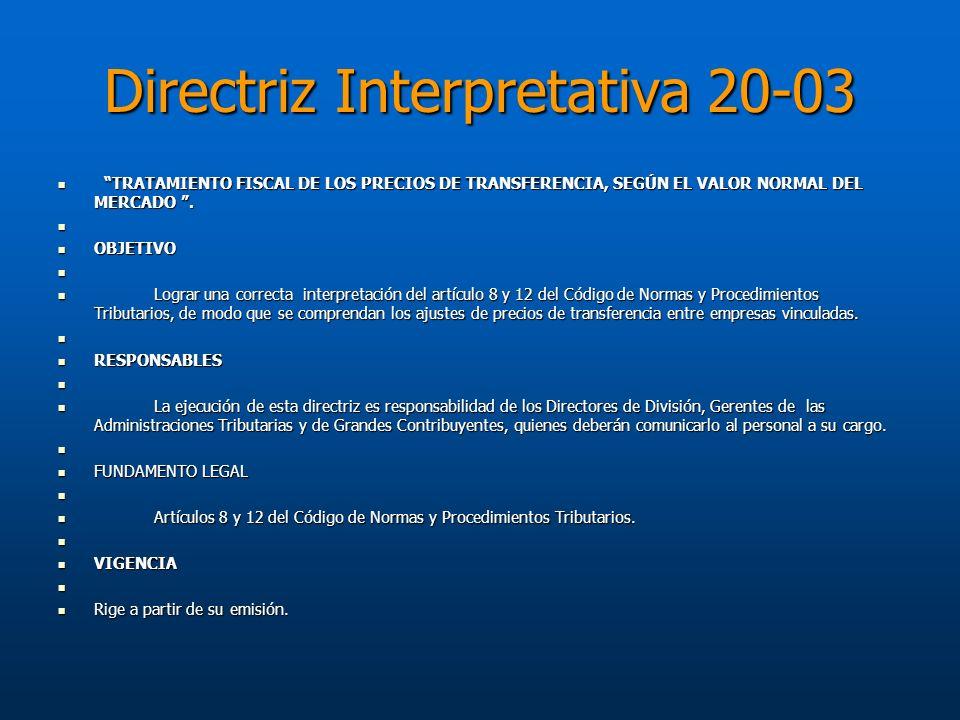 Directriz Interpretativa 20-03 TRATAMIENTO FISCAL DE LOS PRECIOS DE TRANSFERENCIA, SEGÚN EL VALOR NORMAL DEL MERCADO. TRATAMIENTO FISCAL DE LOS PRECIO