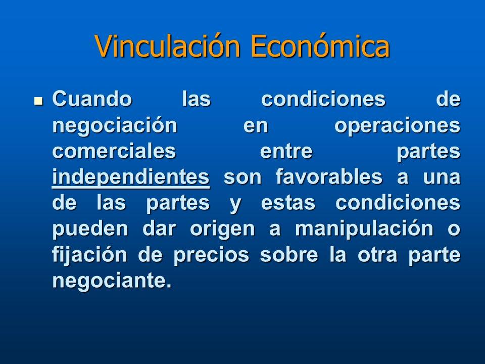 Vinculación Económica Cuando las condiciones de negociación en operaciones comerciales entre partes independientes son favorables a una de las partes