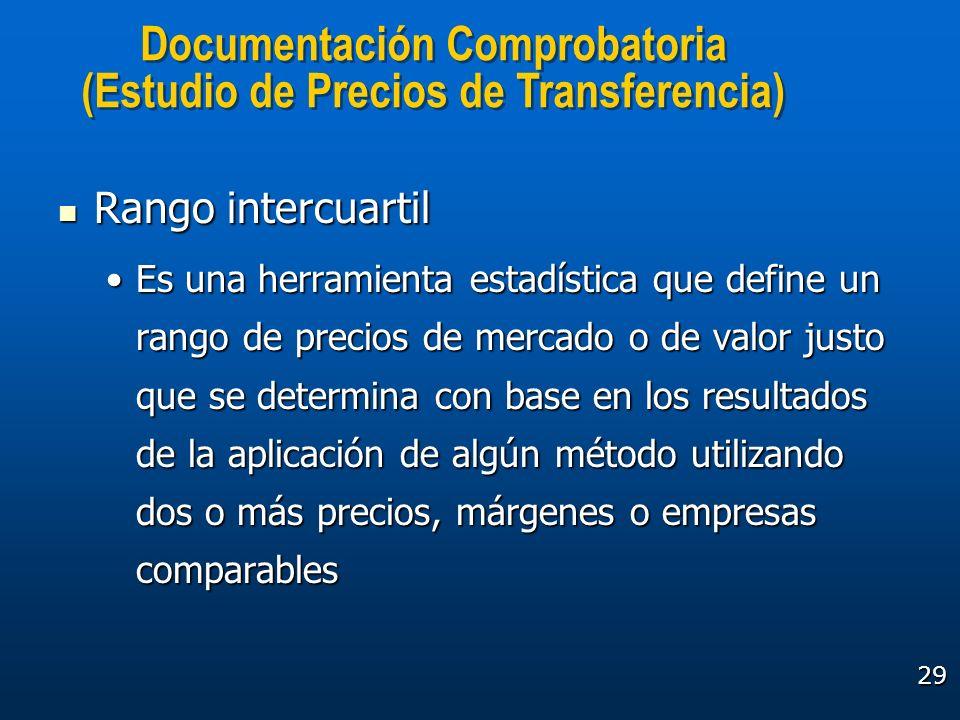 29 Documentación Comprobatoria (Estudio de Precios de Transferencia) Documentación Comprobatoria (Estudio de Precios de Transferencia) Rango intercuar