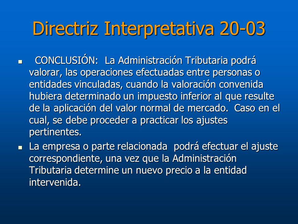 Directriz Interpretativa 20-03 CONCLUSIÓN: La Administración Tributaria podrá valorar, las operaciones efectuadas entre personas o entidades vinculada