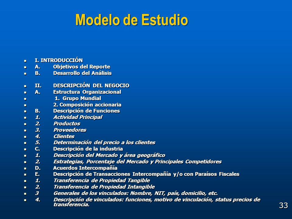 33 Modelo de Estudio I. INTRODUCCIÓN I. INTRODUCCIÓN A.Objetivos del Reporte A.Objetivos del Reporte B.Desarrollo del Análisis B.Desarrollo del Anális