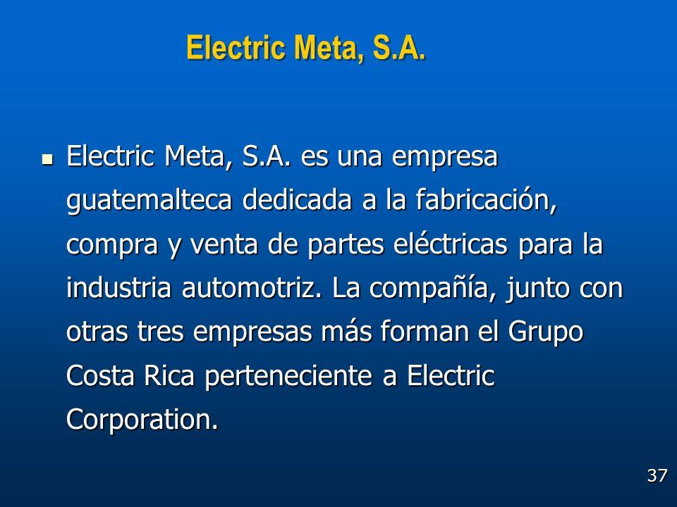 37 Electric Meta, S.A. Electric Meta, S.A. es una empresa guatemalteca dedicada a la fabricación, compra y venta de partes eléctricas para la industri