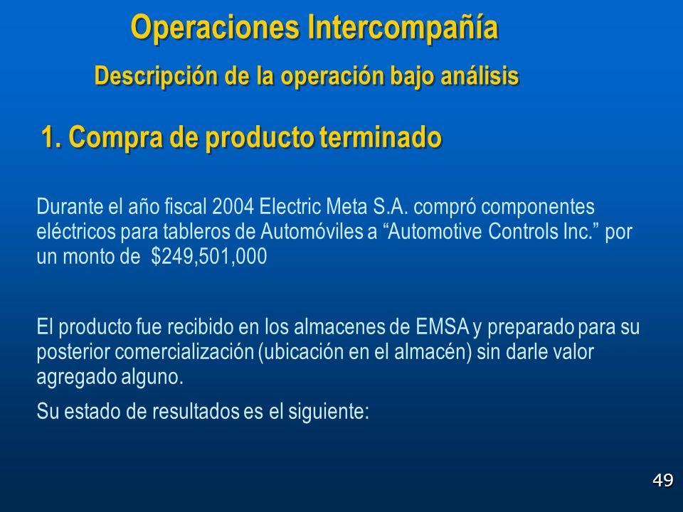 49 1. Compra de producto terminado Durante el año fiscal 2004 Electric Meta S.A. compró componentes eléctricos para tableros de Automóviles a Automoti