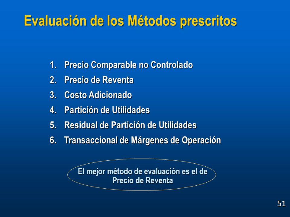 51 Evaluación de los Métodos prescritos 1.Precio Comparable no Controlado 2.Precio de Reventa 3.Costo Adicionado 4.Partición de Utilidades 5.Residual