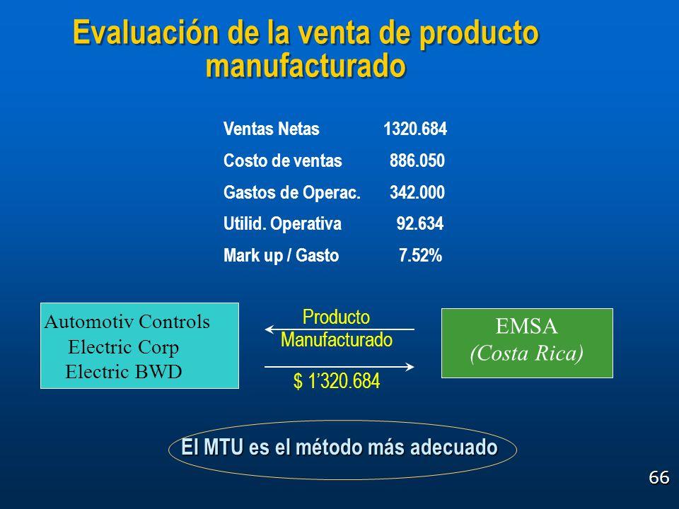 66 El MTU es el método más adecuado Evaluación de la venta de producto manufacturado EMSA (Costa Rica) Automotiv Controls Electric Corp Electric BWD P