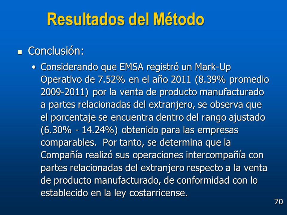 70 Resultados del Método Conclusión: Conclusión: Considerando que EMSA registró un Mark-Up Operativo de 7.52% en el año 2011 (8.39% promedio 2009-2011