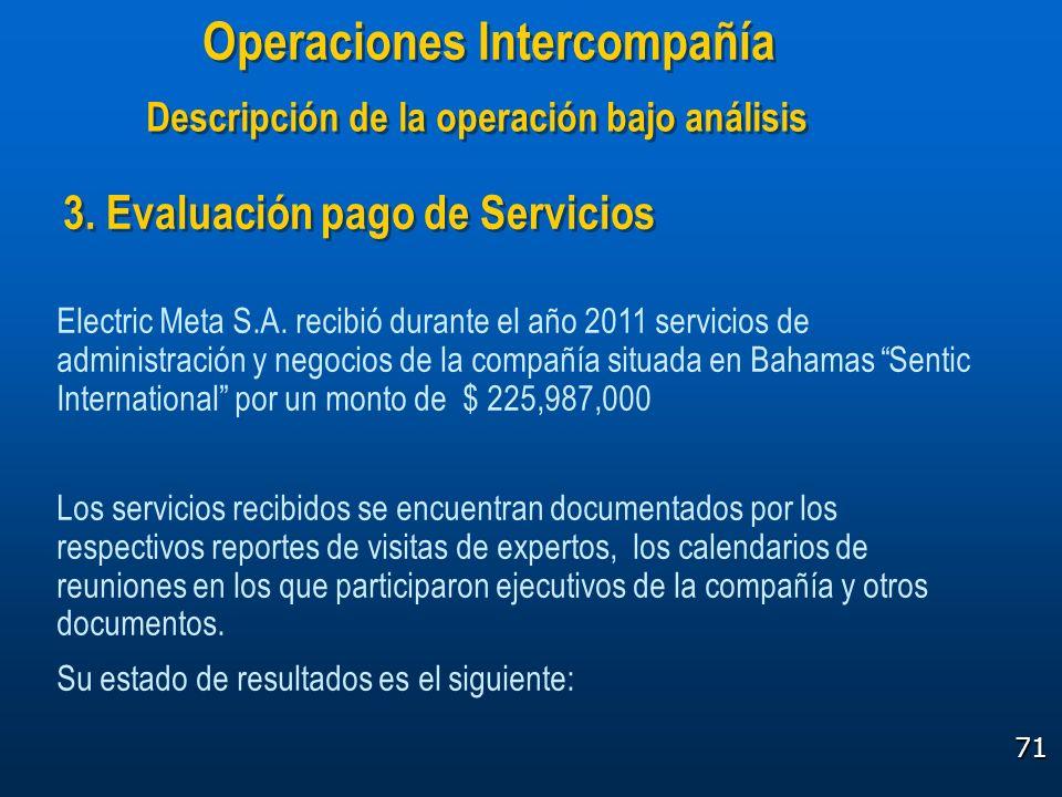 71 3. Evaluación pago de Servicios Electric Meta S.A. recibió durante el año 2011 servicios de administración y negocios de la compañía situada en Bah