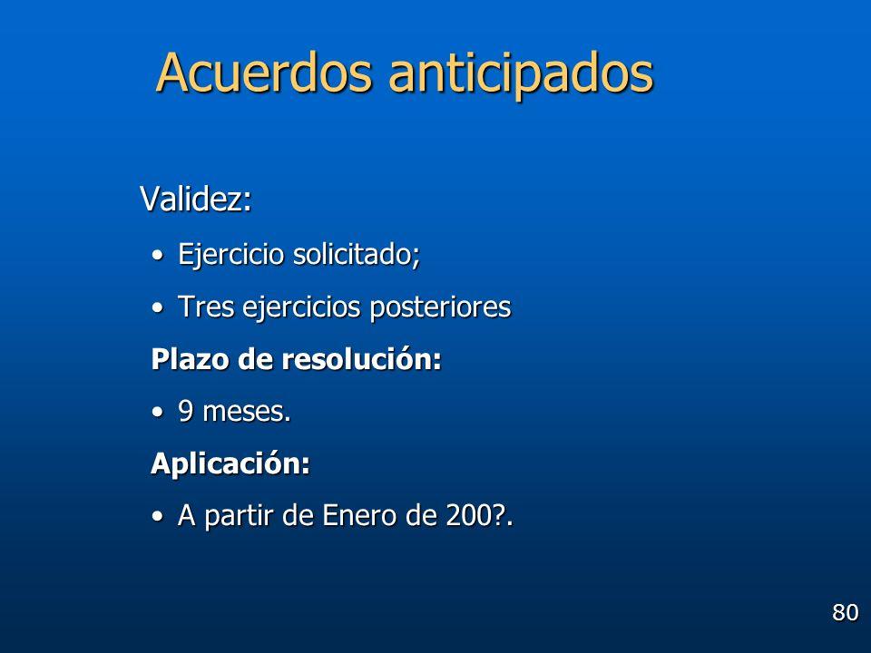 80 Acuerdos anticipados Validez: Ejercicio solicitado;Ejercicio solicitado; Tres ejercicios posterioresTres ejercicios posteriores Plazo de resolución