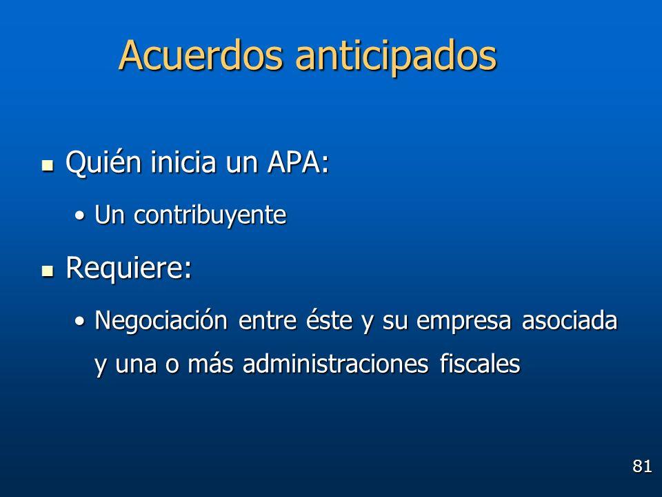 81 Quién inicia un APA: Quién inicia un APA: Un contribuyenteUn contribuyente Requiere: Requiere: Negociación entre éste y su empresa asociada y una o