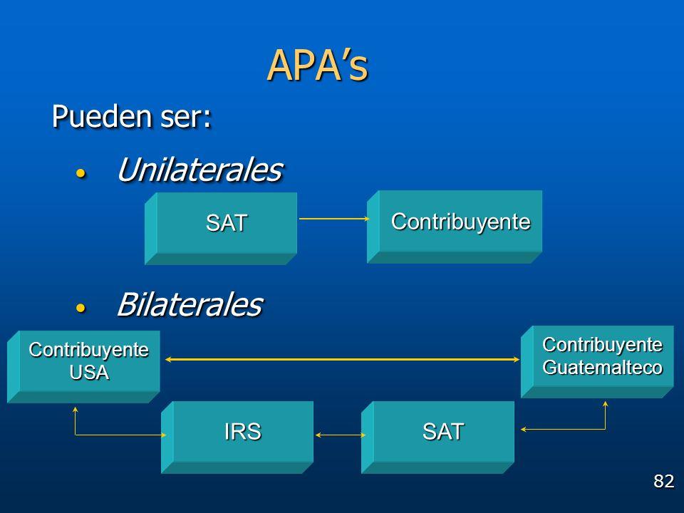 82 Pueden ser: Contribuyente SAT SATIRS ContribuyenteGuatemalteco ContribuyenteUSA APAs Unilaterales Unilaterales Bilaterales Bilaterales