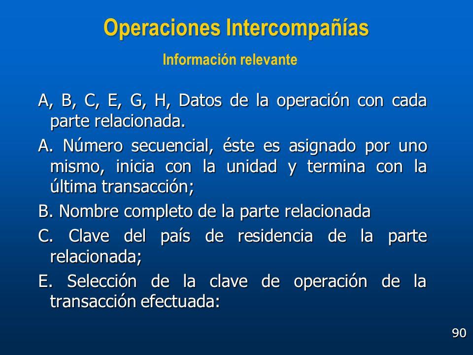 90 Operaciones Intercompañías A, B, C, E, G, H, Datos de la operación con cada parte relacionada. A. Número secuencial, éste es asignado por uno mismo