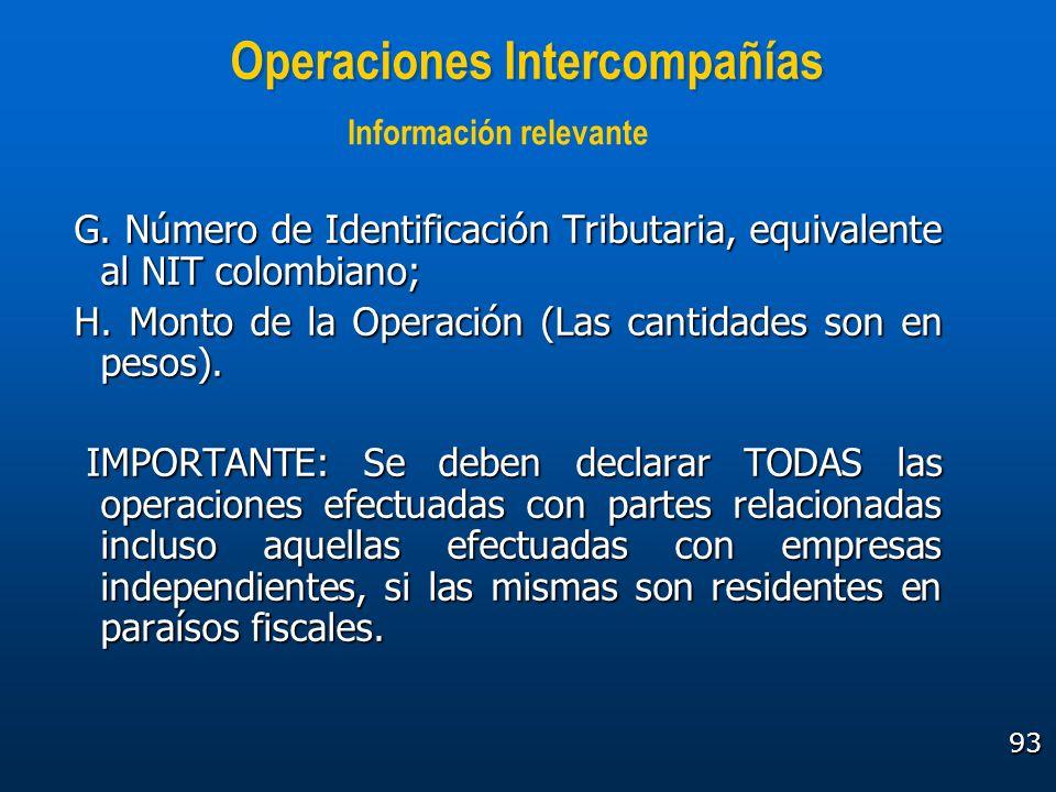 93 Operaciones Intercompañías G. Número de Identificación Tributaria, equivalente al NIT colombiano; H. Monto de la Operación (Las cantidades son en p