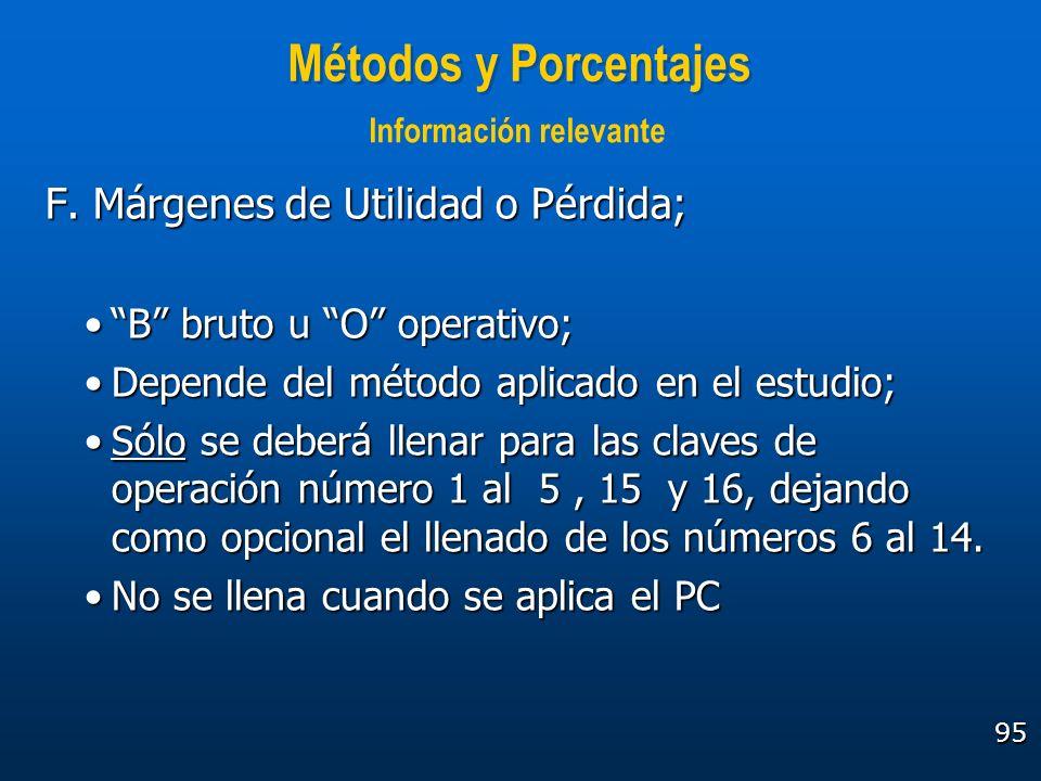 95 Métodos y Porcentajes F. Márgenes de Utilidad o Pérdida; B bruto u O operativo;B bruto u O operativo; Depende del método aplicado en el estudio;Dep