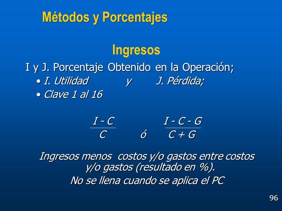 96 Métodos y Porcentajes I y J. Porcentaje Obtenido en la Operación; I. Utilidad y J. Pérdida;I. Utilidad y J. Pérdida; Clave 1 al 16Clave 1 al 16 I -