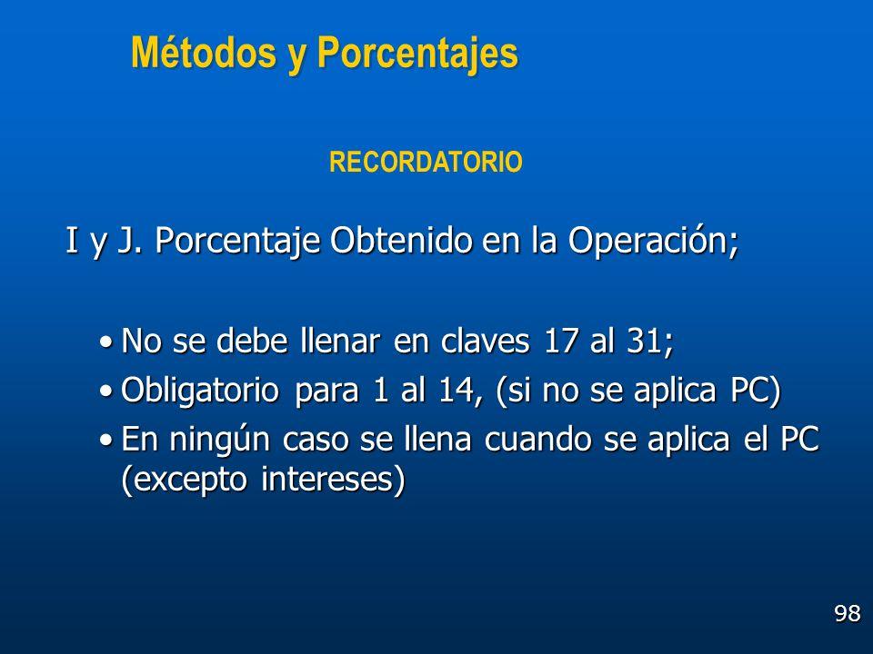 98 Métodos y Porcentajes I y J. Porcentaje Obtenido en la Operación; No se debe llenar en claves 17 al 31;No se debe llenar en claves 17 al 31; Obliga