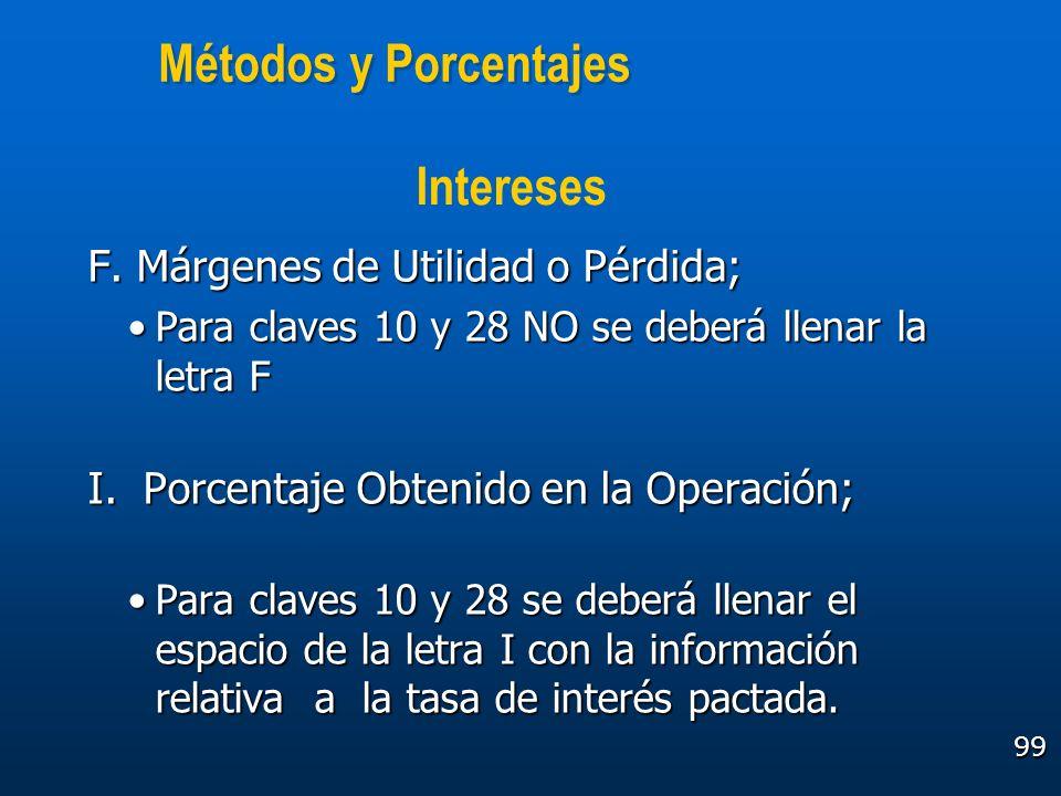 99 Métodos y Porcentajes F. Márgenes de Utilidad o Pérdida; Para claves 10 y 28 NO se deberá llenar la letra FPara claves 10 y 28 NO se deberá llenar