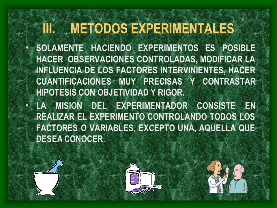III.METODOS EXPERIMENTALES SOLAMENTE HACIENDO EXPERIMENTOS ES POSIBLE HACER OBSERVACIONES CONTROLADAS, MODIFICAR LA INFLUENCIA DE LOS FACTORES INTERVI