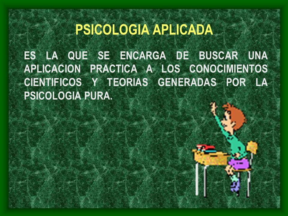 PSICOLOGIA APLICADA ES LA QUE SE ENCARGA DE BUSCAR UNA APLICACION PRACTICA A LOS CONOCIMIENTOS CIENTIFICOS Y TEORIAS GENERADAS POR LA PSICOLOGIA PURA.