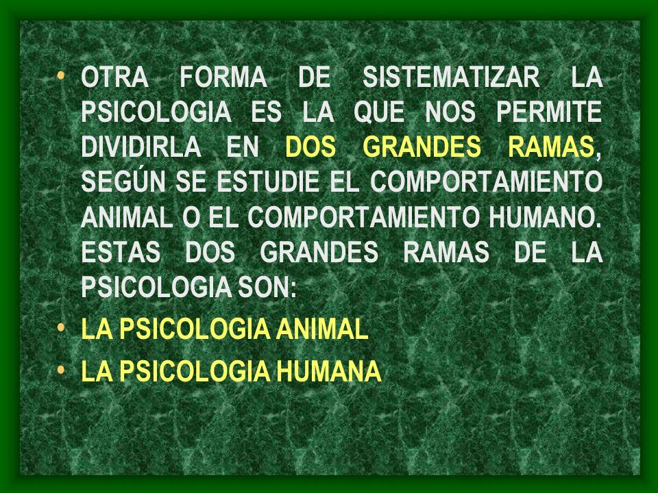 OTRA FORMA DE SISTEMATIZAR LA PSICOLOGIA ES LA QUE NOS PERMITE DIVIDIRLA EN DOS GRANDES RAMAS, SEGÚN SE ESTUDIE EL COMPORTAMIENTO ANIMAL O EL COMPORTA