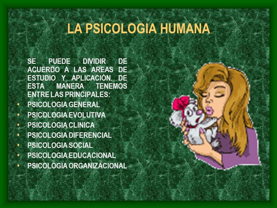LA PSICOLOGIA HUMANA SE PUEDE DIVIDIR DE ACUERDO A LAS AREAS DE ESTUDIO Y APLICACIÓN. DE ESTA MANERA TENEMOS ENTRE LAS PRINCIPALES: PSICOLOGIA GENERAL
