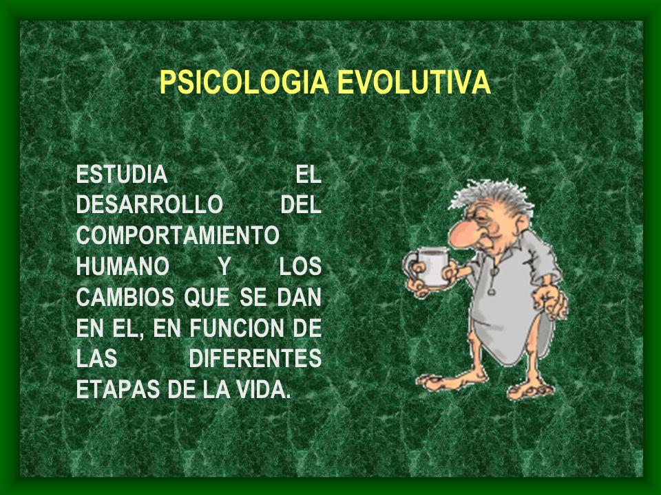 PSICOLOGIA EVOLUTIVA ESTUDIA EL DESARROLLO DEL COMPORTAMIENTO HUMANO Y LOS CAMBIOS QUE SE DAN EN EL, EN FUNCION DE LAS DIFERENTES ETAPAS DE LA VIDA.