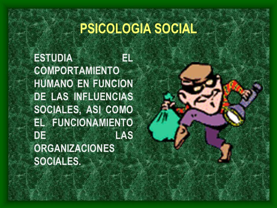 PSICOLOGIA SOCIAL ESTUDIA EL COMPORTAMIENTO HUMANO EN FUNCION DE LAS INFLUENCIAS SOCIALES, ASI COMO EL FUNCIONAMIENTO DE LAS ORGANIZACIONES SOCIALES.