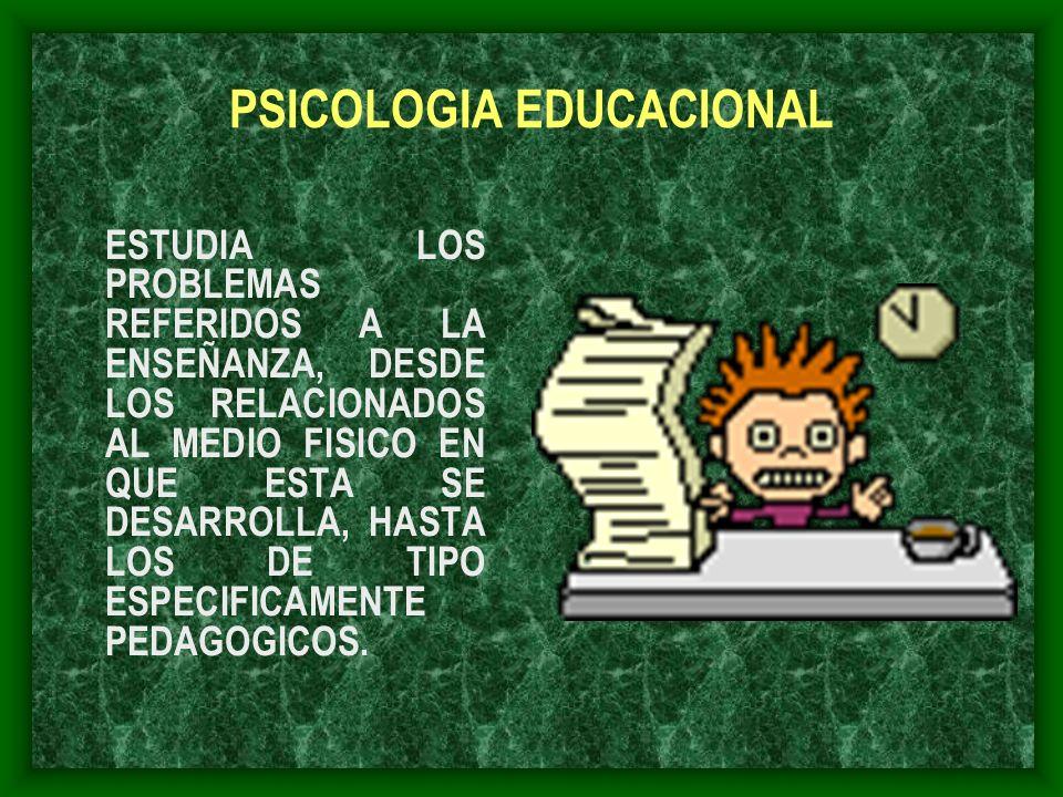 PSICOLOGIA EDUCACIONAL ESTUDIA LOS PROBLEMAS REFERIDOS A LA ENSEÑANZA, DESDE LOS RELACIONADOS AL MEDIO FISICO EN QUE ESTA SE DESARROLLA, HASTA LOS DE