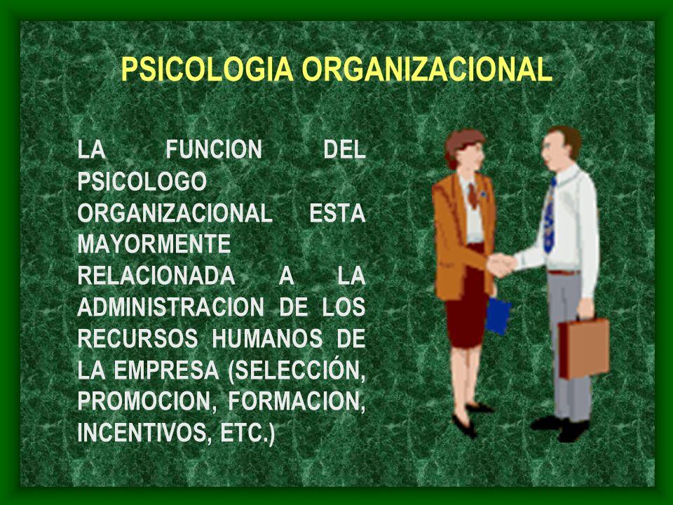 PSICOLOGIA ORGANIZACIONAL LA FUNCION DEL PSICOLOGO ORGANIZACIONAL ESTA MAYORMENTE RELACIONADA A LA ADMINISTRACION DE LOS RECURSOS HUMANOS DE LA EMPRES