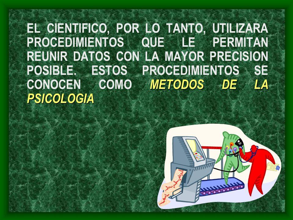 METODOS DE LA PSICOLOGIA EL CIENTIFICO, POR LO TANTO, UTILIZARA PROCEDIMIENTOS QUE LE PERMITAN REUNIR DATOS CON LA MAYOR PRECISION POSIBLE. ESTOS PROC