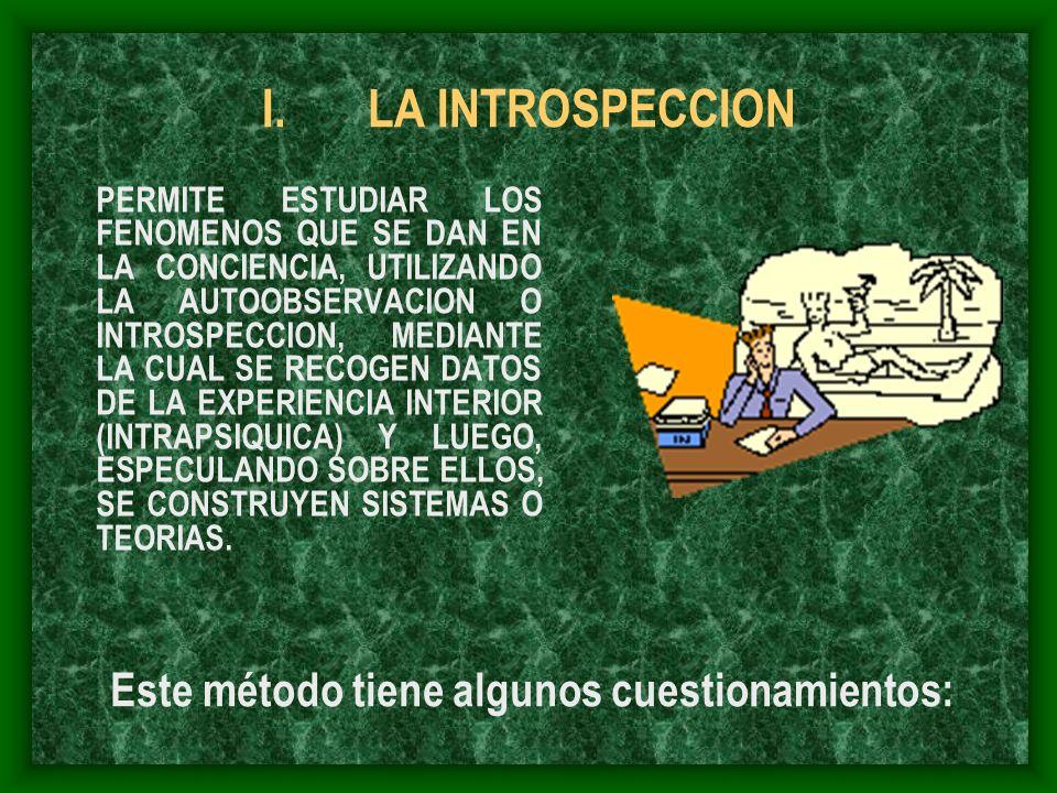 I.LA INTROSPECCION PERMITE ESTUDIAR LOS FENOMENOS QUE SE DAN EN LA CONCIENCIA, UTILIZANDO LA AUTOOBSERVACION O INTROSPECCION, MEDIANTE LA CUAL SE RECO