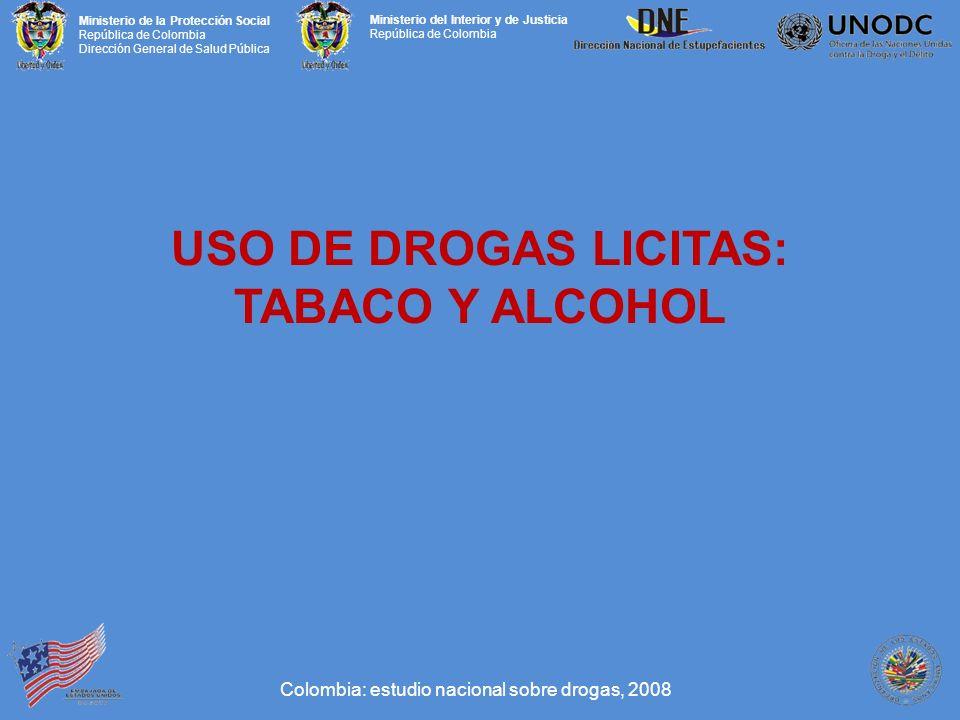 Ministerio de la Protección Social República de Colombia Dirección General de Salud Pública Ministerio del Interior y de Justicia República de Colombia USO DE DROGAS LICITAS: TABACO Y ALCOHOL Colombia: estudio nacional sobre drogas, 2008