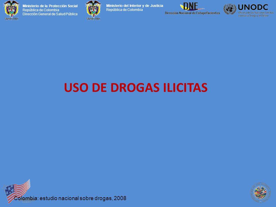 Ministerio de la Protección Social República de Colombia Dirección General de Salud Pública Ministerio del Interior y de Justicia República de Colombia USO DE DROGAS ILICITAS Colombia: estudio nacional sobre drogas, 2008